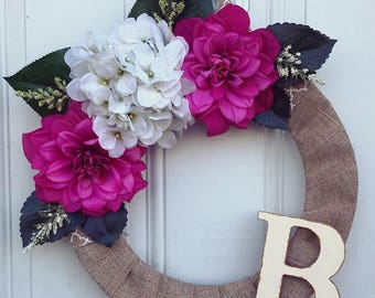 Burlap & Floral Monogram Front Door Wreath