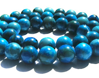 8 jaspes de 8 mm perles pierre bleu multicolore.