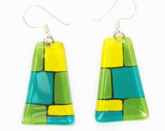 Green and blue earrings
