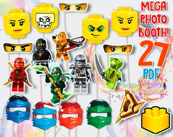 Ninjago photo booth. Ninjago photo props. Ninjago party supplies. Ninjago birthday photo frame. Ninjago masks. 27 sheets A4 PDF