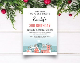Winter Houses Birthday Invitations Babies & Kids Birthday Printable Editable Invitation Teal Pink Snowy Any Age Girls Birthday Party Invites