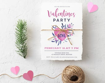 Watercolor Heart Invitations Valentines Party Printable Invite Valentine Day Love Invitations 14 February Floral Invitatons Digital Download