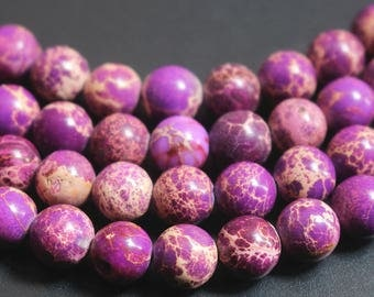 6mm 8mm 10mm 12mm Purple Sea Sediment Jasper round beads , 15  inch per strand.