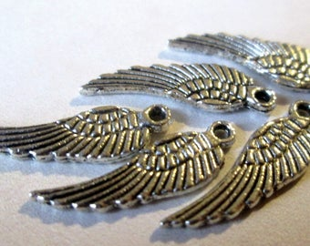 5 Angel Wings - charms / pendants 16mm