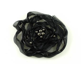 Fabric flower synthetic black beaded sewing or craft, diameter 10cm