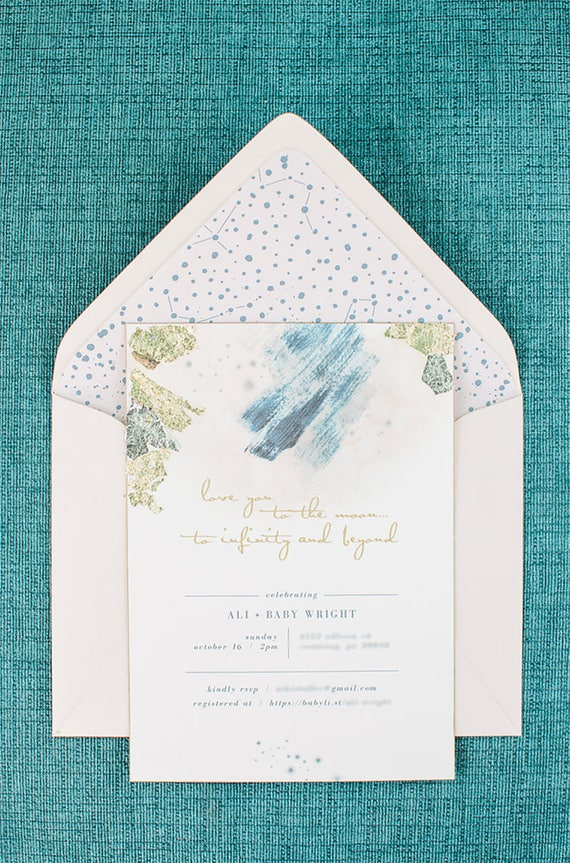 Invitation from Love You To The Moon Baby Shower by Seventh Bixel   Black Twine