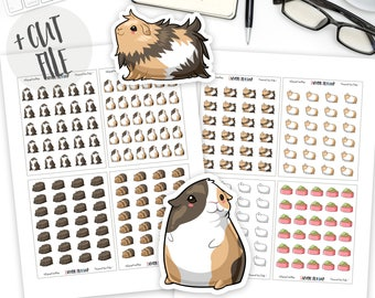 Printable Kawaii Guinea Pigs Planner Stickers, Kawaii Stickers, Cute Stickers, Planner Sticker, Bullet Journal Sticker, Cut File, Silhouette