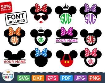 MICKEY Mouse Monogram Frame Svg MINNIE MOUSE Monogram Svg Disney Files Download Dxf Cricut Silhouette Disney svg Designs split Monogram Png