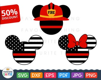 Firefighter Svg Mickey Fire Dept Svg Red Line Flag Cut Files Son Daughter of Fireman Svg Cricut Silhouette cuttable vinyl dxf png eps pdf