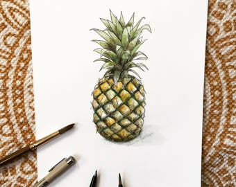 Pineapple pen, ink and watercolor painting | 8x10 | original