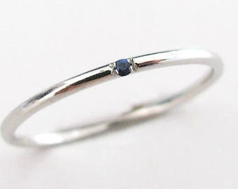 Tiny Sapphire Ring, Dainty Sapphire Ring, Stackable Sapphire Ring, Sapphire Engagement, White Gold Sapphire Ring, Birthstone Ring
