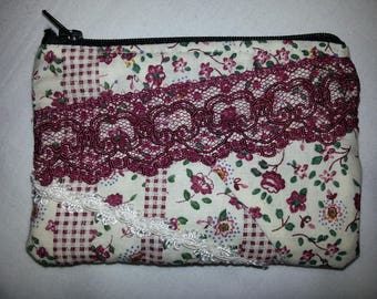 Burgundy flower print fabric purse