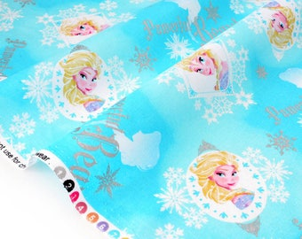 Fabric pattern American ELSA snowflake background turquoise x 50cm
