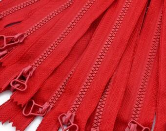 5 zippers zip not separable 17cm red zipper - sold per 5 pieces