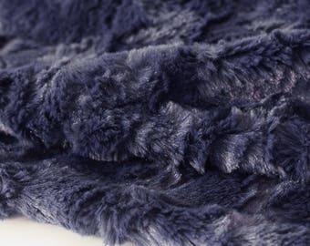 fabric faux fur blanket/plush soft velvet Navy x50cm