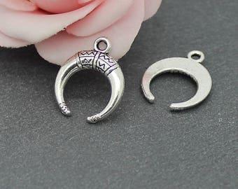 x 20 charms antique silver half moon 18 x 15 mm BRA112