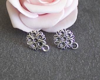 x 6 blank Stud Earrings silver metal flower antiqued BO100