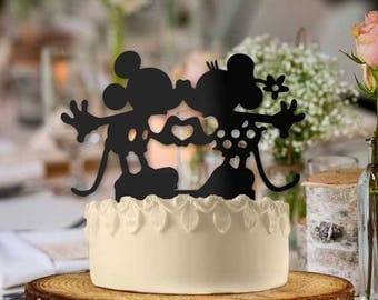 Mickey and Minnie Making Heart Wedding Cake Topper