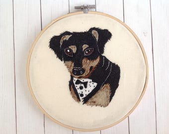 "Embroidered Hoop ""Dog"".Bamboo Hoop."