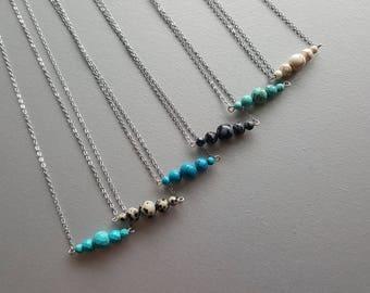 Silver Chain Necklace. Tiny Gemstone Necklace. Gemstone Bar Necklace. Dainty Necklace. Everyday Simple Necklace. Minimalist Necklace.