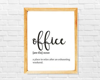 Sarcastic coworker gift, funny office definition print, Co-worker print, Sarcastic work print, Funny office digital poster, New job gift