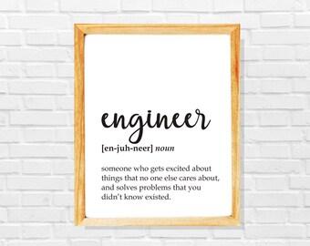 Engineer gift, funny engineer definition print, Engineer print, Co-worker print, Sarcastic work print, Funny gift for enginner, Work gift