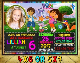 Dora The Explorer Invitation, Dora Birthday Invitation, Dora party, Dora Birthday, Dora Invitation, Dora Party, Dora the explorer, Dora Card