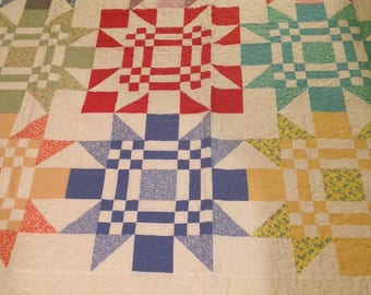 Color Red Quilt - Handmade