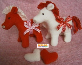 Set stuffed ponies felt stable felt toy baby felt stuffed valentine felt gifts stuffed toy valentines day gift horse pony stuffed animal doll set easter sweetheart negle Image collections