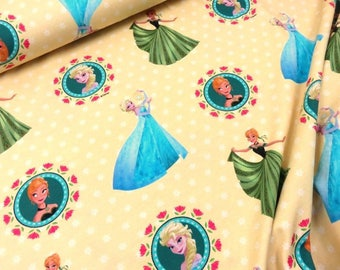 Elsa and Anna from Frozen - JERSEY knit fabric, digital printed cotton lycra