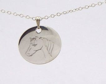 """Silver necklace 925/1000 engraved, """"a horse head"""""""