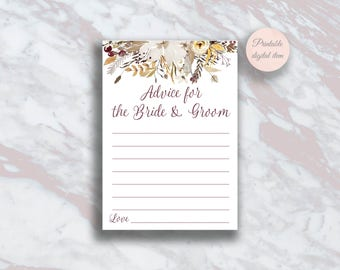 Advice for the bride and groom, Fall Bridal shower games, Autumn Boho Bridal Advice cards, Wedding advice, Bridal shower activity ideas s6br