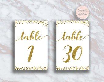 Worksheet 1-30 Table table number 1 30 etsy wedding numbers printable gold confetti wedding
