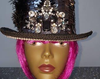 Custom Made Hat, Top hat Burning Man hat Embellished Hat, Steam Punk Hat, Unique Hat, festival headwear hand made hat Bespoke hat Burner hat