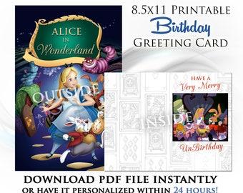 Alice in Wonderland Printable Digital Birthday Card