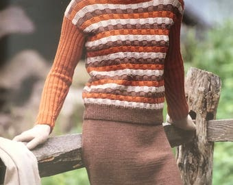 PDF Knit Basketweave Pullover And Skirt  (EASY)