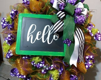 Hello Everyday Spring General Gold Wreath Gold Deco Mesh