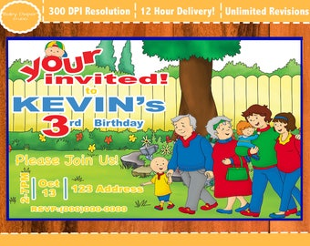 Caillou Invitation (Brand New), Caillou Party, Caillou Birthday Invitation