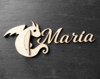 Wooden name dragon sign - personalized dragon wall decor - great for housewarming gifts or a wedding placeholder