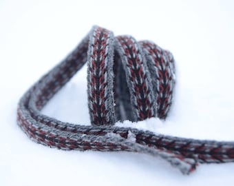 Tablet woven band / Handwoven trim / Grey red brown trim / Medieval reenactment / 20 mm strap /  Historical costume