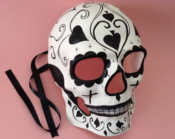 halloween black white skeleton dia de los muertos sugar skull mask for men boys