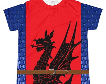 Red Dragon & Blue Dragonmail Medieval Surcoat Kid's  T-Shirt