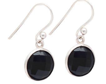925 Sterling Silver Black Onyx Round 10mm Bezel Set Gemstone Dangle Earrings