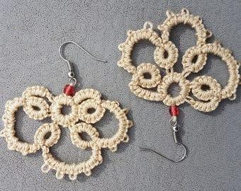 Earrings Ecru tatting lace