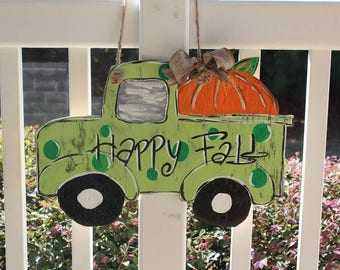Fall Truck-themed door hanger