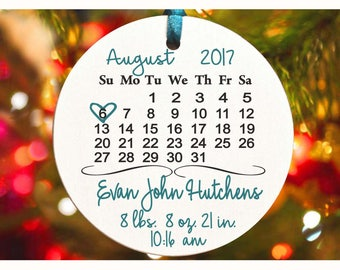 Baby's First Christmas ornament ,Personalized christmas tree ornament, Birth date , Baby's christmas tree Ornament, baby shower gift (Ch25)