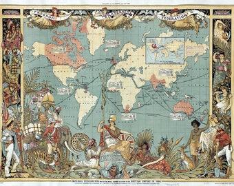 Ancient British empire map, fine reproduction, large antique map, antique decor, fine art print