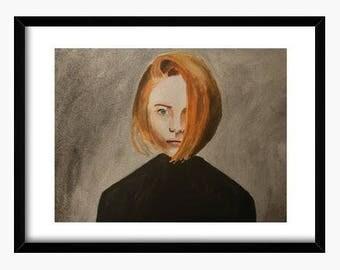Original watercolor Portrait redhead, watercolor Portrait woman, watercolor Woman redhead, watercolor unique painting original