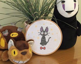 JiJi black cat 'kikis dilivery service' cross stitch ghibli