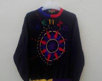 rare kenzo golf/kenzo jeans embroidered full multicolour design